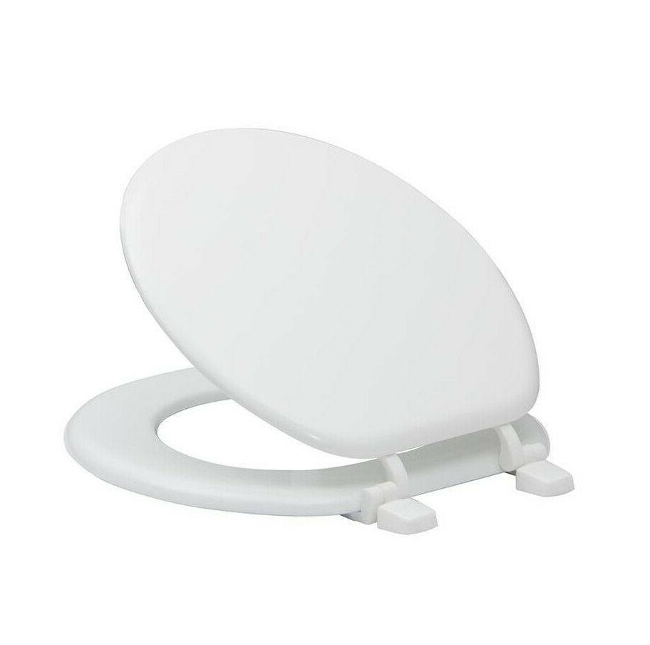 White Round Wood Seat Finish Durable Closed Front Lid New
