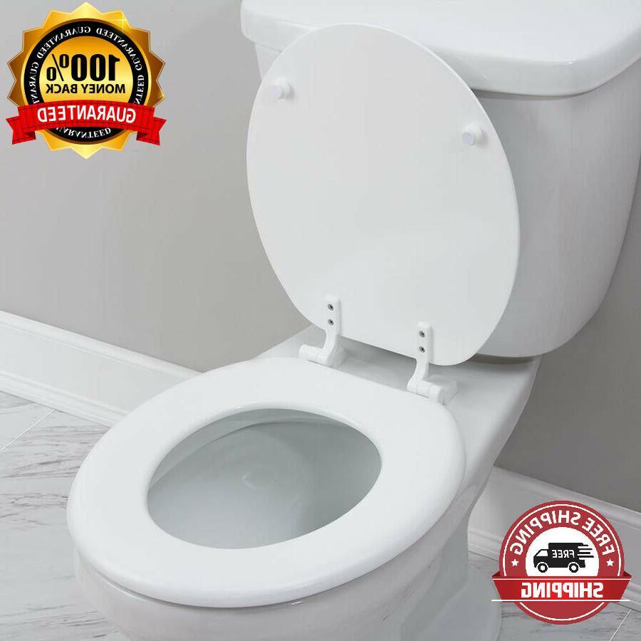 white wood universal round bathroom toilet seat