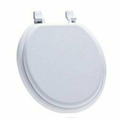 white wooden round rim toilet seat