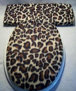 LEOPARD fleece animal print Elongated Toilet Seat Lid and Ta