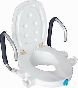 Locking 2.5 Inch Elevated Toilet Seat with Flip-Up Armrests