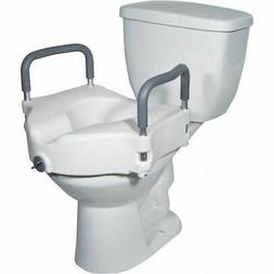 Lumex Locking Raised Toilet Seat with Removable Arms, White