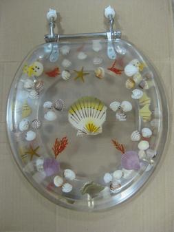 Lucite Acrylic Polyresin Toilet Seat Shells Sea Life