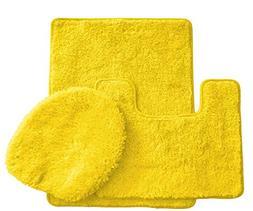 BH Home & Linen 3 Piece Luxury Spa Solid Colors Bath Rug Set