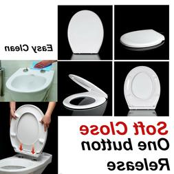 LUXURY SLOW SOFT CLOSE WHITE OVAL BATHROOM TOILET SEAT WITH