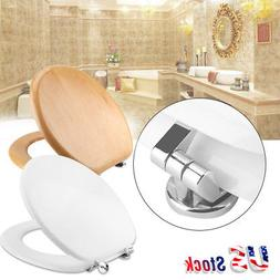 MDF Round Closed Front Toilet Seat Lift-Off Lid Bowl Adjusta