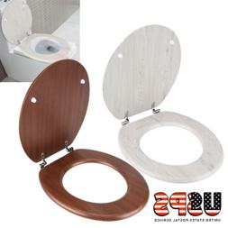 MDF Wood Toilet Seat Round Wooden Lid Cover Finish Adjustabl