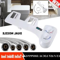 Mechanical Bidet Toilet Seat Attachment Dual Nozzle Water Sp