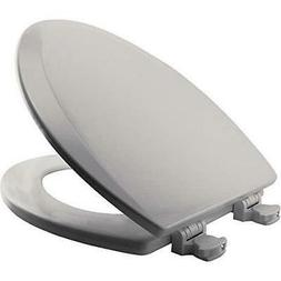 Molded Wood Elongated Toilet Seat, Ice Gray