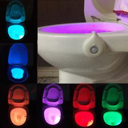 Motion Activated Sensor LED Toilet Night Light 8 Color Chang