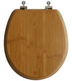 TOPSEAT 6TSBR0010NI 999 Bamboo Toilet Seat, Round, Nickel Hi