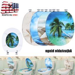 NEW 3D Series Ocean Sea Beach Shell Round Toilet Seat, Adjus