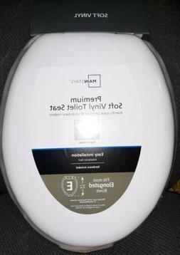 NEW Mainstays Elongated Cushioned Premium Soft Vinyl Toilet