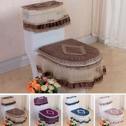 New Lace Bathroom Set Toilet Seat Pad Tank Lid Top Cover War