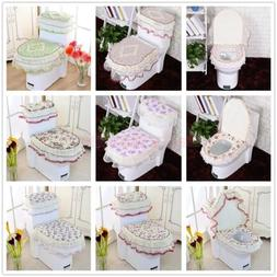 New Toilet Seat Cover Floral Closestool Tank Lid Cloth Bathr