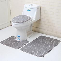 Urstory1 Non-Slip Pedestal Rug,2/3Pcs Bath Mat Pedestal Toil