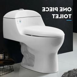 Dual Flush One Piece Compact Elongated Toilet 0.8/1.28GPF wi