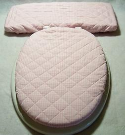PINK White Gingham country chic Elongated Toilet Seat Lid/Ta