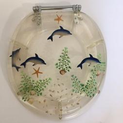 Polyresin Acrylic Clear Toilet Seat Aqua Dolphin Fish Shells