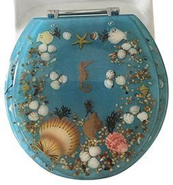Daniel's Bath & Beyond Polyresin Round Seahorse Toilet Seat,