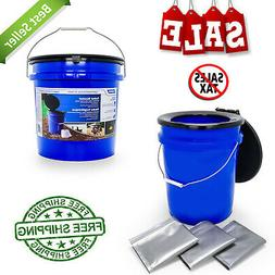 Portable Toilet Bucket with Seat and Lid Attachment Hold 5 G