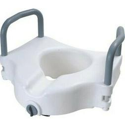 Cardinal Health Raised Toilet Seat w/ Arms and Lock, Rises 5