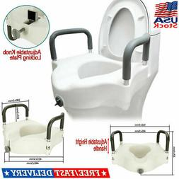 Raised Toilet Seat with Arms, Elongated for Elderly Handicap