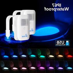 2 Pack Rechargeable 16-Color Toilet Night Light, Motion Sens