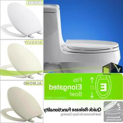 Replacement Elongated Closed Front Toilet Seat with Quick-Re