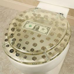 RESIN TOILET SEAT BIG MONEY DOLLAR, COINS, STANDARD ROUND CH