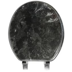 Wood Toilet Seat Round Decorative Black Marble Colored Lid B