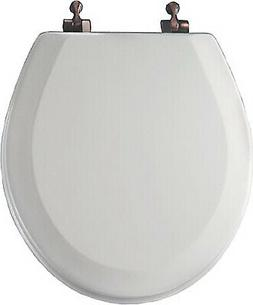 Round Molded Wood Toilet Seat, Oil-Rubbed Bronze Hinge, STA-
