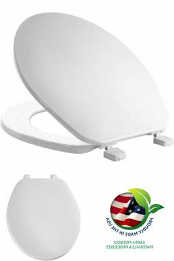 Round Toilet Seat White Plastic with Cover Bathroom Hinge Ma