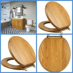 Round Wood Toilet Seat Closed Front Lid Honey Oak Brass Hing