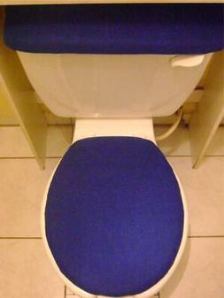 ROYAL BLUE*  Fleece Fabric Elongated Toilet  Seat Lid & Tank
