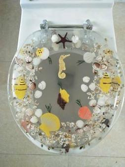 Seahorse Seashells Acrylic Round shaped Toilet Seat Clear 17