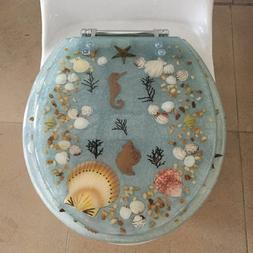 Seahorse Seashells Acrylic Round shaped Toilet Seat Green 17