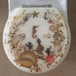 Seahorse Seashells Acrylic Round shaped Toilet Seat Ivory 17