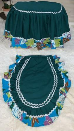 Set of 2 Tank Lid Top Cover pleated skirt Closestool Toilet