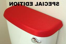 Shiny Fabric Cover for a Lid TANK toilet Red Bright Color -