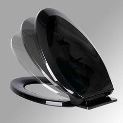 No Slam Toilet Seat Easy Close Black Plastic Elongated Renov