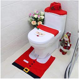 Snowman Santa Toilet Seat Cover Tissue Box Cover Tank Lid Co