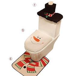 Auoinge Snowman Toilet Seat Cover Rug Set, Christmas Bathroo
