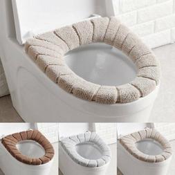 Bathroom Toilet Seat Cover Soft Plush Washable Winter Warmer