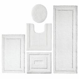 mDesign Soft Microfiber Polyester Bathroom Spa Rug Set - Wat