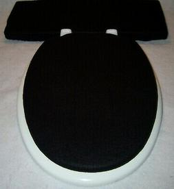 Solid BLACK fleece Elongated Toilet Seat Lid and Tank Lid Co