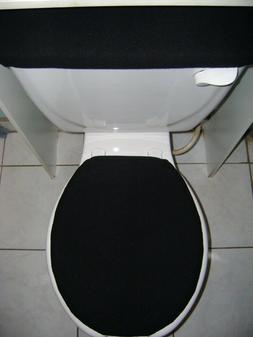 SOLID Black Fleece Fabric - Elongated Toilet Seat Cover Set