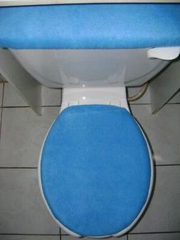 solid blue fleece fabric elongated toilet seat
