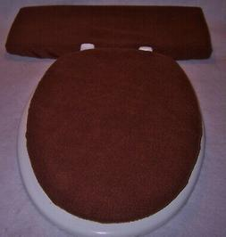 SOLID CHOCOLATE BROWN fleece Elongated Toilet Seat Lid and T