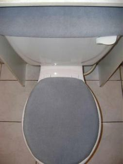 SOLID GRAY - FLEECE Fabric -Elongated Toilet Seat Lid & Tank